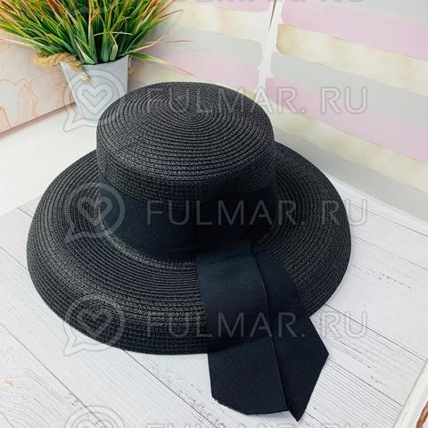 Чёрная женская овальная шляпа соломенная канотье с лентой