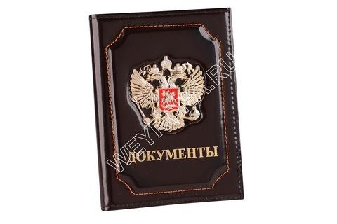 Обложка С ГЕРБОМ РФ КОРИЧНЕВАЯ (ТЕЛЯЧЬЯ КОЖА)