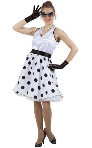 Платье Стиляга белая в горох 2