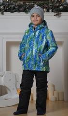 Детский тёплый прогулочный лыжный костюм Nordski City Blue-Lime-Black