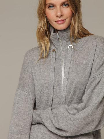 Женский серый джемпер на замке с высоким горлом из 100% кашемира - фото 4