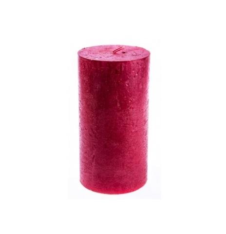 Свеча (Рустик) - Столбик, 13х7см, красный металлик