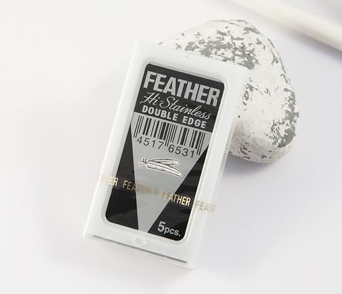 Японские классические лезвия для бритья «FEATHER» с платиновым покрытием (5 шт)