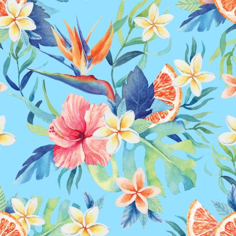 Тропические цветы. Голубой
