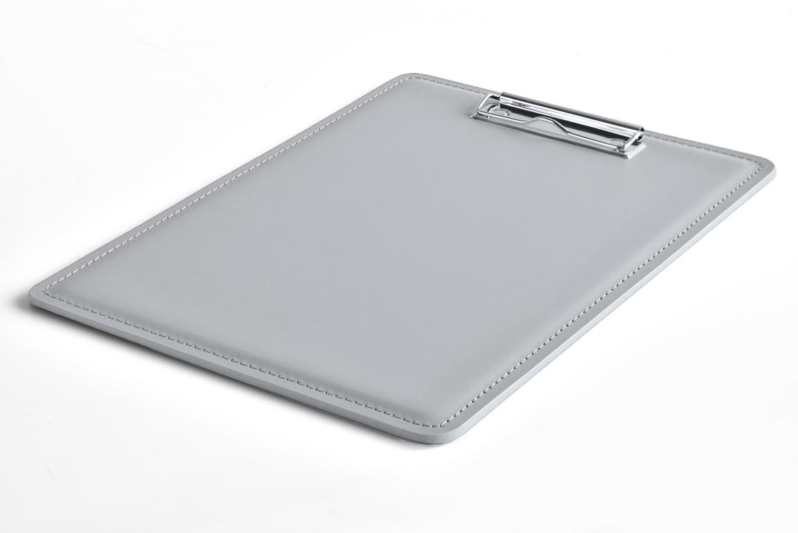 серый планшет а4 из кожи с зажимом
