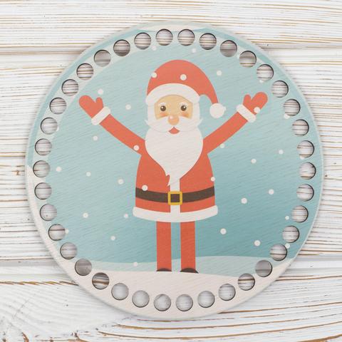 """Круглая заготовка с рисунком """"Дед мороз"""" 15см из фанеры"""