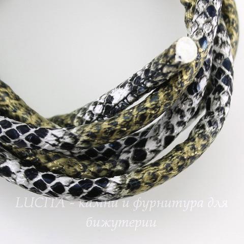 """Шнур кожаный, 6 мм, """"Змея"""", цвет - черно-белый с золотом, примерно 1 м"""