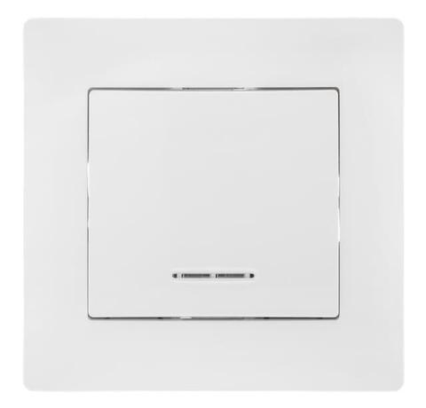 Выключатель одноклавишный с подсветкой, 10 А 220/250 В~. Цвет Белый. Bravo GUSI Electric. С10В18-001-СБ