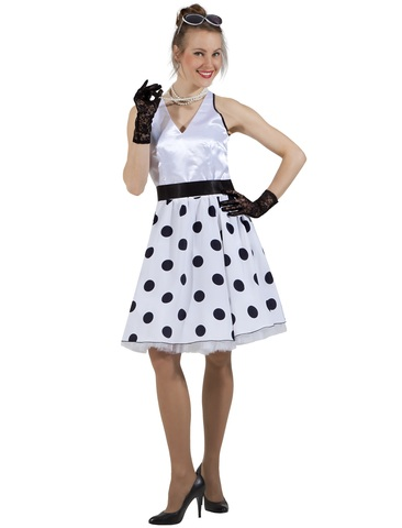 Платье Стиляга белая в горох 3
