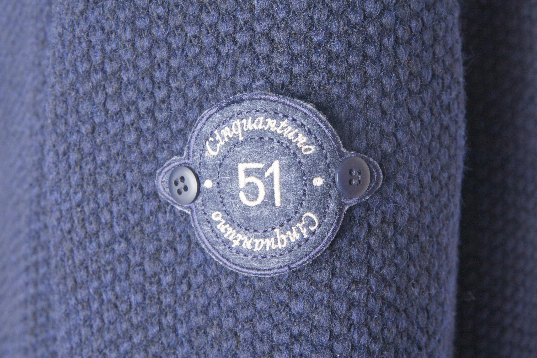 Двубортное тёмно-синее пальто из натуральной шерсти, логотип