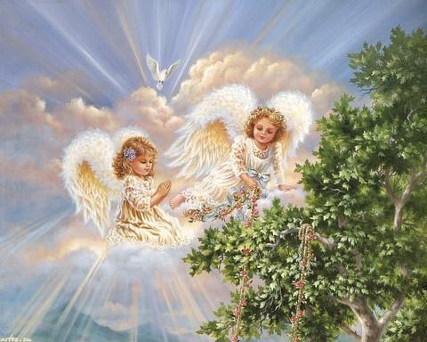 Алмазная Мозаика 20x30 Два ангела у дерева