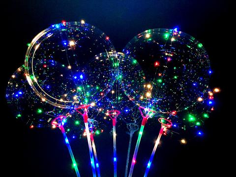 Воздушный шар со светодиодами гелиевый прозрачный на палочке