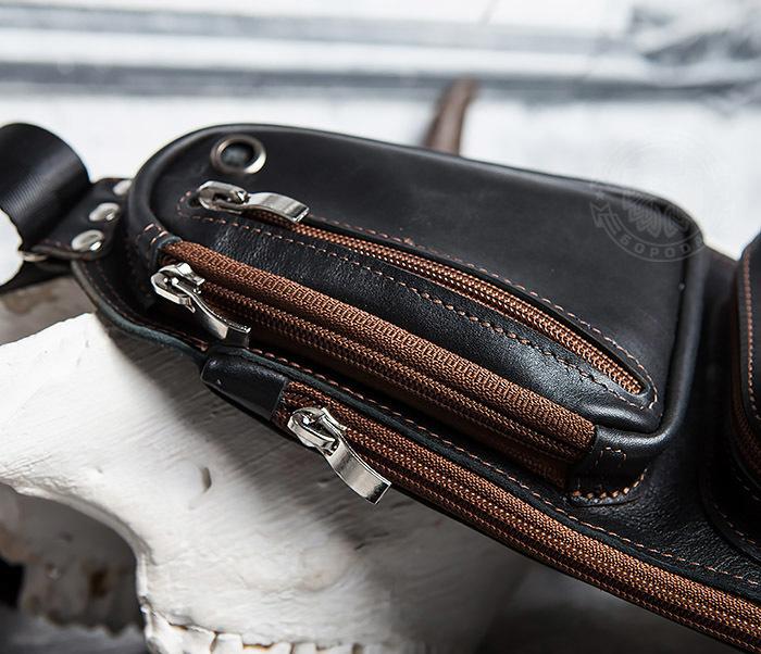 BAG415-1 Крутая мужская сумка рюкзак с одной лямкой, ручная работа фото 04