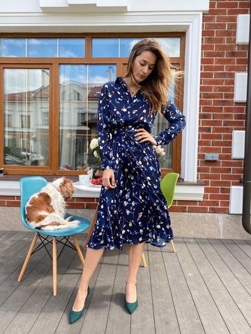 Платье- миди  с поясом « Blue»