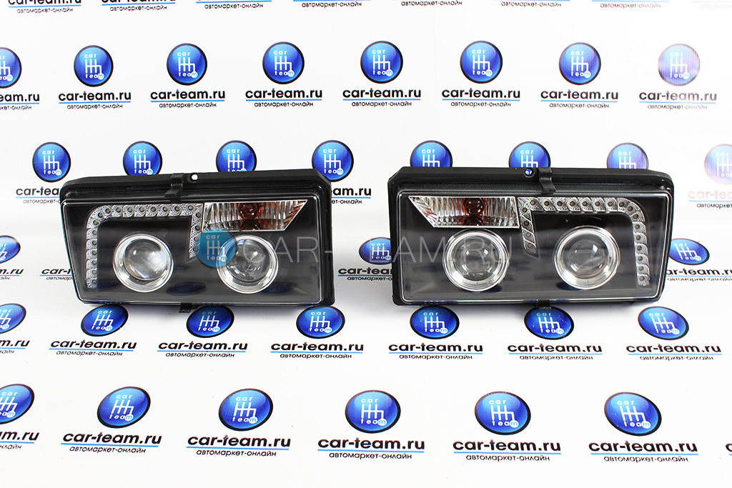 Фары передние тюнингованные черные с линзами и ДХО на ВАЗ 2105-07