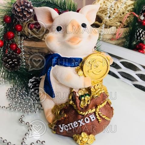 Копилка большая свинка Озорная с пожеланием