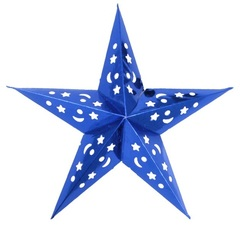 Звезда бумажная голографическая синяя (30см)