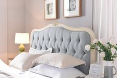 """Кровать """"Флоранс 200x160 (Florence)"""" (изголовье - ткань NDS149 ) — Молочный (MK-5022-AW)"""