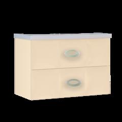 Тумба с раковиной Marka One Bonne 75П 2 ящика, vanilla