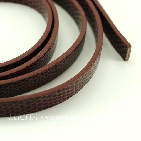 Шнур кожаный, 7х2 мм, цвет - шоколадный, примерно 1 м