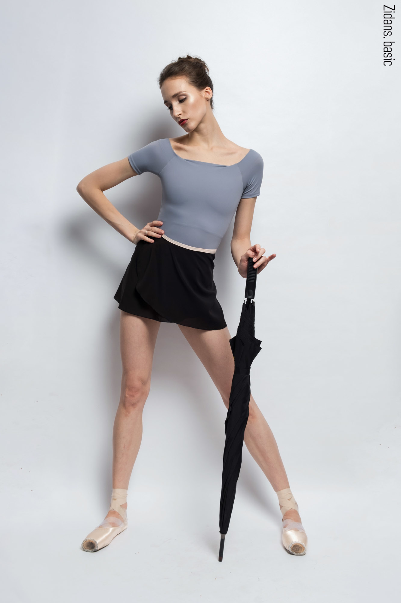 Black wrap chiffon skirt with beige contrast  ribbon | 2 lengths