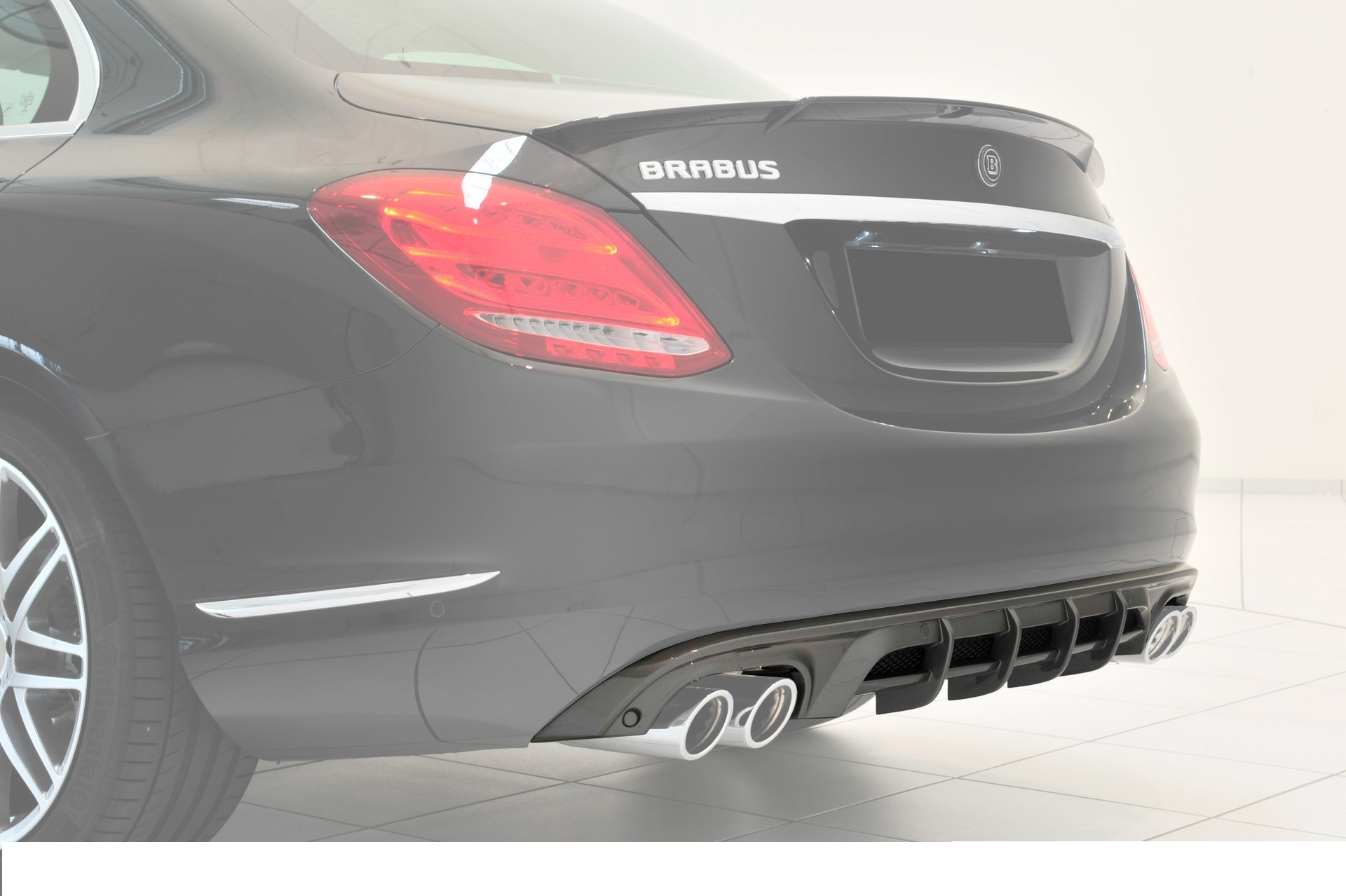 Карбоновый диффузор заднего бампера Brabus Style для Mercedes С-class W205