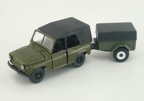 UAZ-469 with trailer khaki Agat Mossar Tantal 1:43