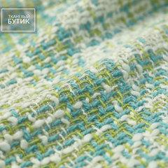 Белая ткань в голубую и желто-зеленую клетку