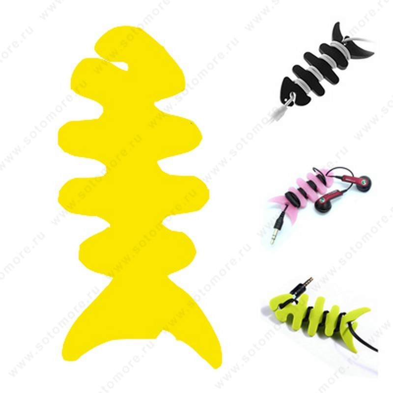 Скрутка намотка для кабеля или наушников резиновая рыбка желтый