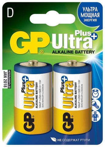 Батарейки GP 13AUP-S2 Ultra alkaline PLUS LR20, D,трей 2/20/
