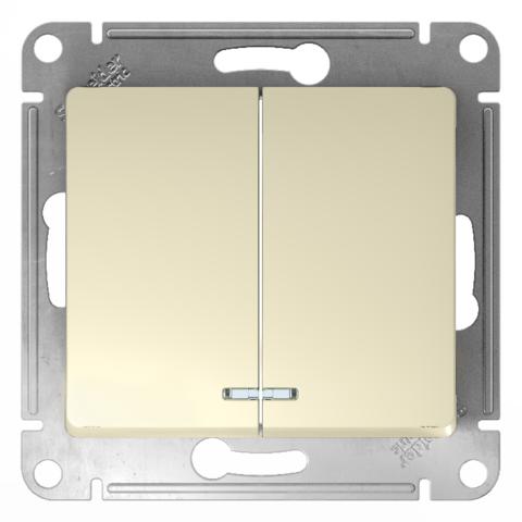 Выключатель двухклавишный с подсветкой, 10АХ. Цвет Бежевый. Schneider Electric Glossa. GSL000253