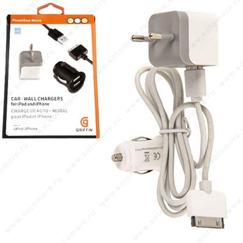 Зарядное устройство 3в1 GRIFFIN СЗУ + АЗУ 2xUSB 2.1A + кабель 30-pin 1.0 метра черный