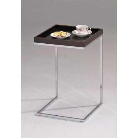 Столик кофейный SR-0841 квадратный орех/хром