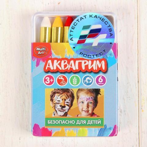 Аквагрим карандаши 6 цветов