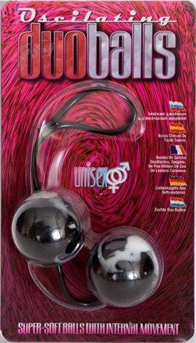 Чёрно-белые вагинальные шарики Duoballs - Seven Creations 2K839MBLK BCD GP