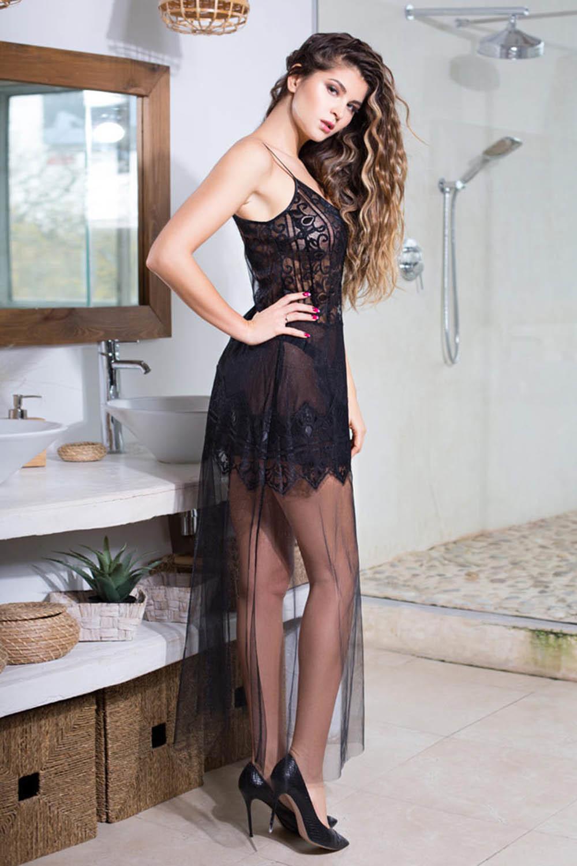 Платье домашнее Ruby из мягкой сетки с элегантным кружевом