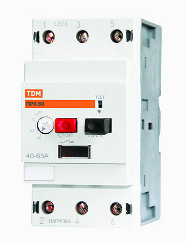Пускатель ПРК80-1,6 In=1,6A Ir=1-1,6A Ue 660В TDM