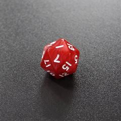 Красный мраморный двадцатигранный кубик (d20) для ролевых и настольных игр