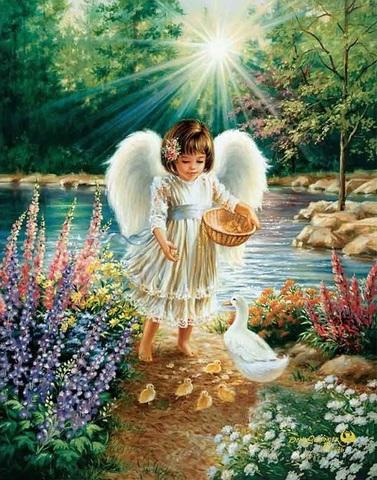 Алмазная Мозаика 20x30 Ангелок кормит птиц