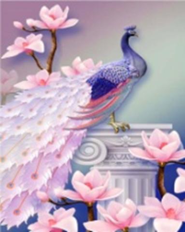 Картина раскраска по номерам 40x50 Павлин на белой колонне