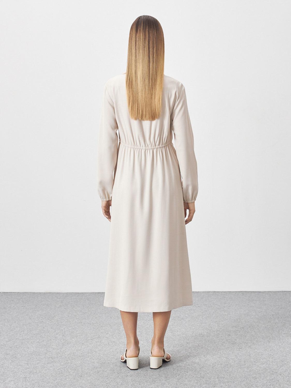 Платье Angela с резинкой на талии, Молочный