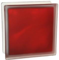 Стеклоблок полуматовый рубиновый (матовый с одной стороны) Vitrablok  19x19x8