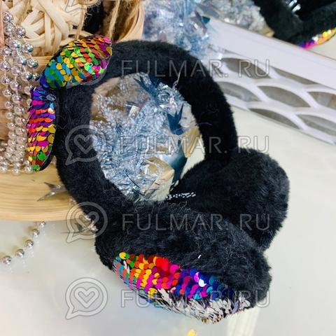 Ободок на уши Плюшевый Чёрный зимний складной детский с бантом и двусторонними пайетками Радужные-Серебристые