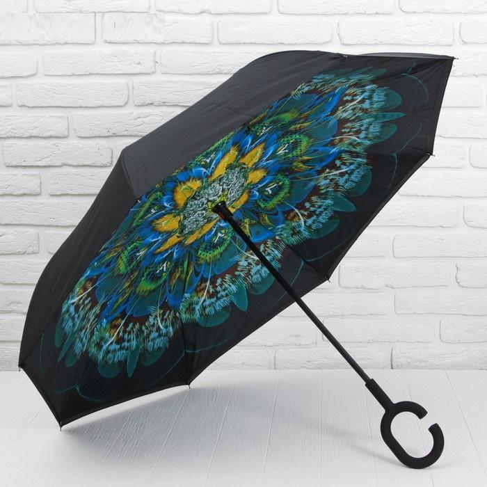 Зонт - наоборот «Жар-птица», механический, цвет чёрный/зелёный фото