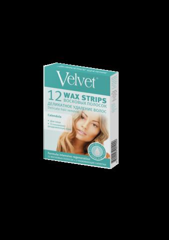 Velvet Восковые полоски для лица  «Деликатное удаление волос»