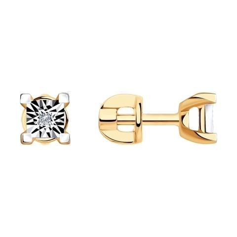 1021545 - Серьги из комбинированного золота с бриллиантами