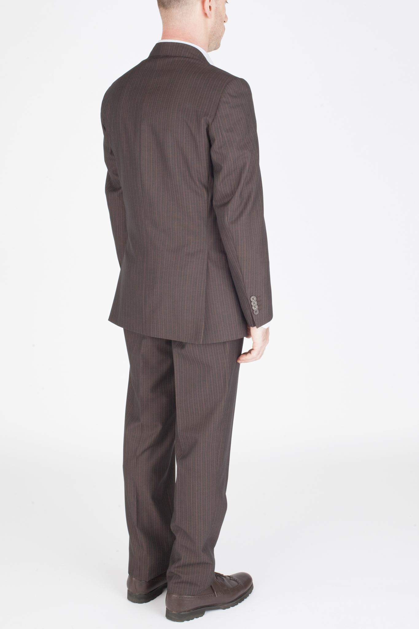 Коричневый костюм в тонкую полоску из 100%-ной шерсти