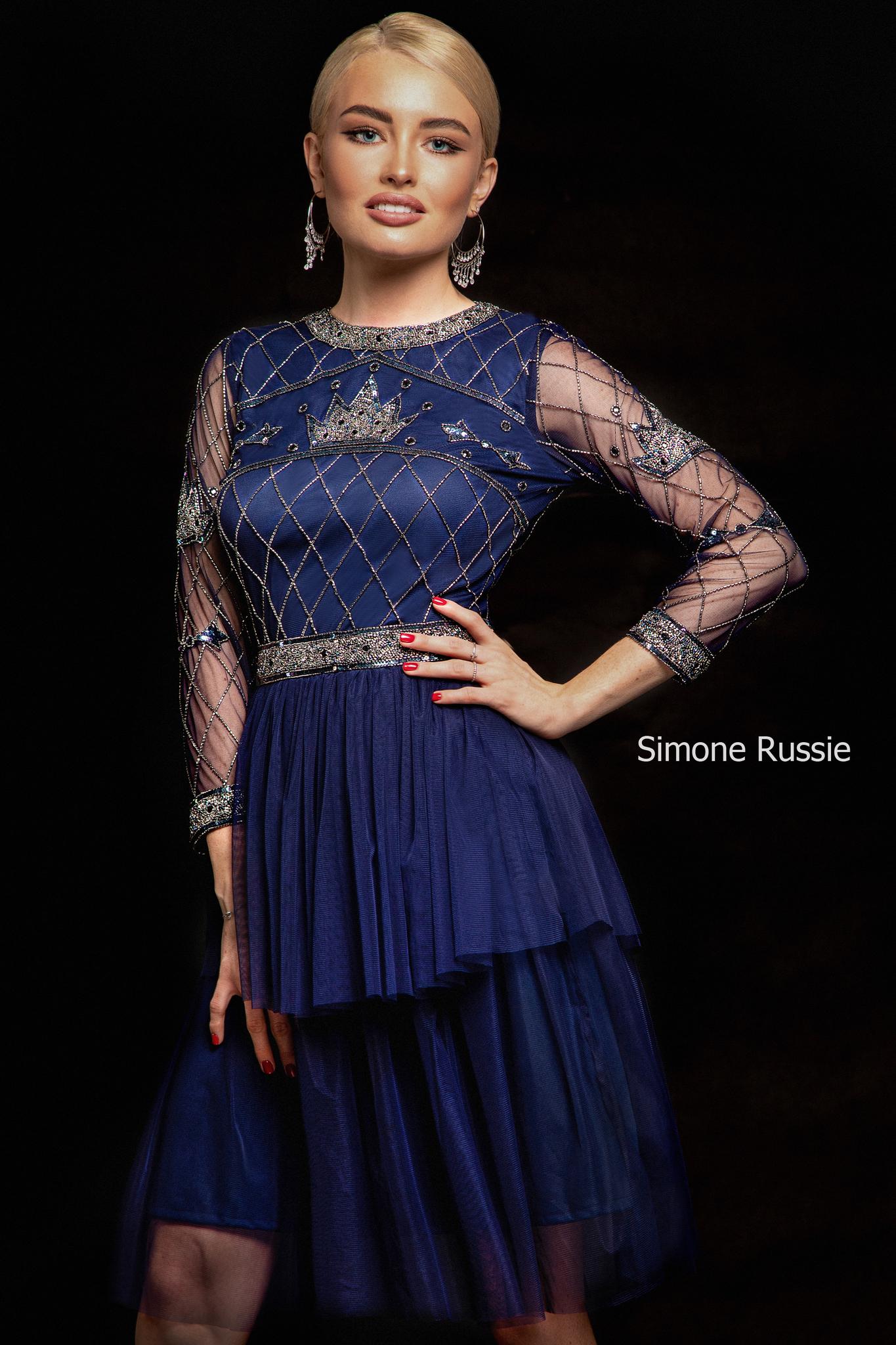 Simone Russie SR1942 Синее платье средней длины с двухъярусной юбкой