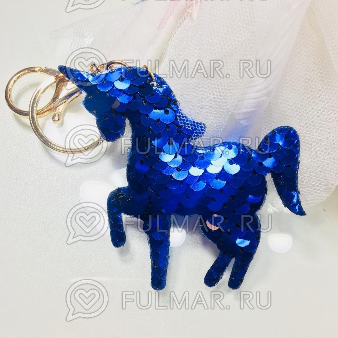 Брелок Единорог с двусторонними пайетками меняет цвет Синий-Серебристый фото