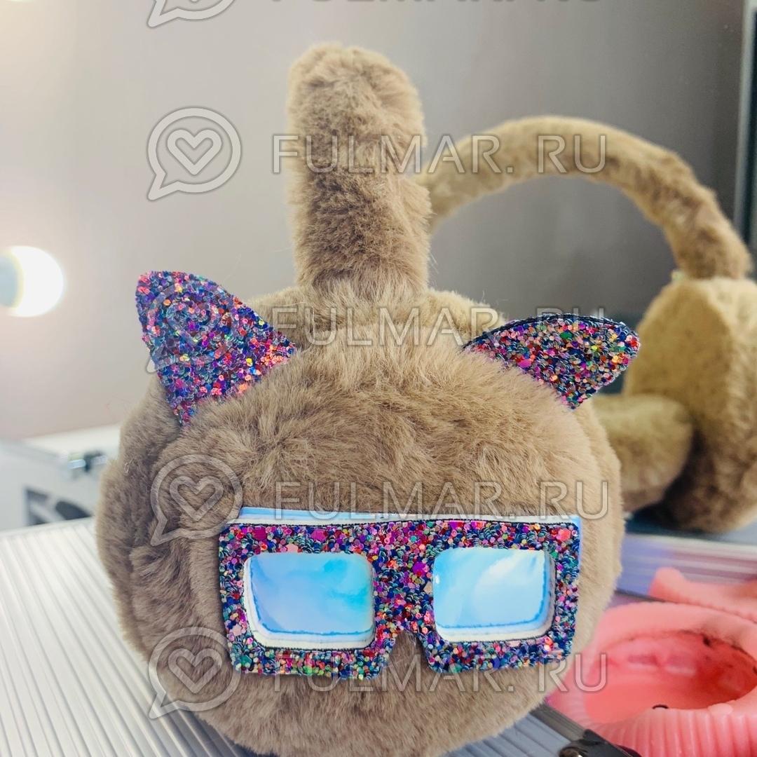 Ободок на уши Плюшевый с блёстками Котик в очках (цвет: Коричневый) фото
